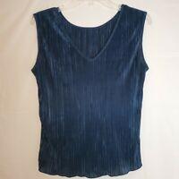 Womens Medium Jaipur Top Silky Crinkle Pleat Shirt Blouse Blue Tank Sleeveless