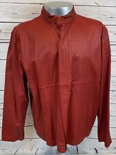 Polo Sport Men Red Soft Leather Zip Jacket Coat Size XL Ralph Lauren ULTAR RARE