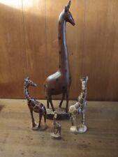 "Lot 4 Vintage Hand Carved Wood Giraffe Statue Figure 17"" 8"" 8"" & 4"""