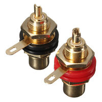 2Pcs Gold Plated Rca Panel Mount Chassis Socket Phono Female Connector Set WA