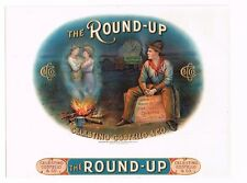 CIGAR BOX LABEL INNER ROUND UP EMBOSSED COWBOY WESTERN COVERED WAGON C1910