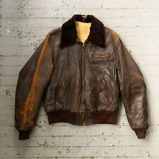 Vintage Distressed 1940s Leather Jacket With Shearling Lining And Collar L