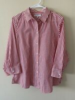 New Foxcroft Womens Shaped Wrinkle-Free Blouse Size 12 Striped Red White
