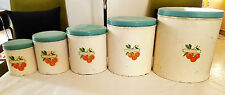 Vintage/Retro Set of 5 Willow Metal Canisters. Made in Australia