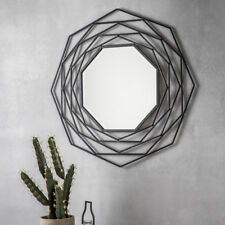"Estella Round Geometric Unique Design Black Wall Overmantle Metal Mirror 36"""