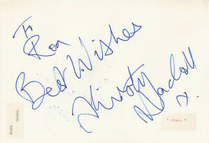 Kirsty MacColl signed page autograph singer The Pogues Fairytale of New York
