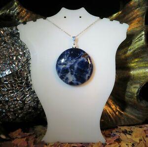 Beautiful natural Indigo Blue Sodalite 32mm cabochon sterling silver pendant 💙