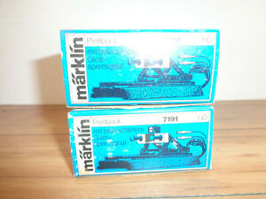 MARKLIN HO SCALE M TRACK TWO # 7191 BUFFER STOPS WITH WORKING SIGNAL LIGHTS