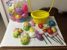 Lot Of Easter Including A 15� Yellow Basket Candy Containers Eggs