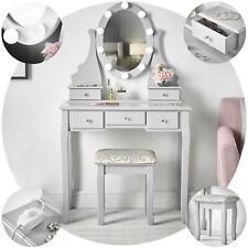 Grey Dressing Table Hollywood Lights Mirror Stool 5 Drawers Set Bedroom Makeup