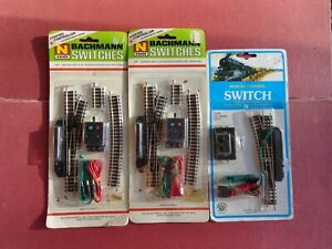 VINTAGE BACHMANN N SCALE LEFT & 2 RIGHT REMOTE SWITCHES TRACK w / PLUGS 3 PACKS