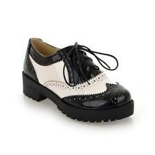 retro Womens Wing Tip Lace Up round toe Punk brogue Casual Shoes