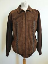 EE810 MENS TOOTAL BROWN SUEDE LEATHER COTTON SLEEVES COLLARED JACKET UK L EU 52