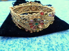 VeraMeat Goldtone Bracelet Bangle with Coloured Rhinestone