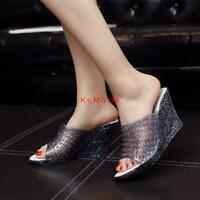Womens Hollow Wedge Slip On Sandals Open Toe Casual Crystal Shoes slipper