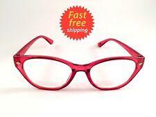 Betsey Johnson Reading Glasses Cat Eye Style Clear Red Readers +2.00