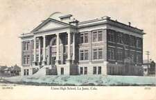 La Junta Colorado Union High School Street View Antique Postcard K91787