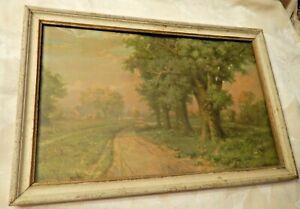 vintage framed landscape print Robert Atkinson Fox Oaks by the Roadside rural