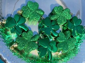St Patrick's Day Green Shamrocks Ornaments Decorations Decor Set of 8 New