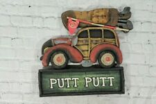 Wild and Woody Vintage Golf PUTT PUTT Wood Wall Art Cabin Rustic Decor