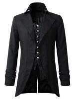 Darkrock Men's Morning Gothic Jacket Tailcoat Black Brocade Steampunk Victorian