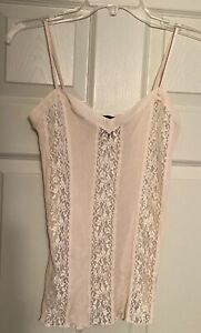 Moda International Ribbed/lace Cream Camisole -S