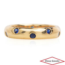 Tiffany & Co. Blue Sapphire 18K Yellow Gold Eternity Band Ring 5.1 Grams NR