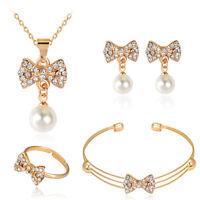 Stylish Bow Pearl Rhinestones Necklace Pendant Earrings Ring Bangle Jewelry Set