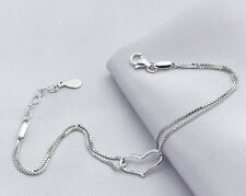 925 Sterling Silver Plated Women Charm Love Heart Bracelet Bangle Hand Chain