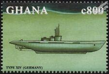 WWII Kriegsmarine (Germany) Type XIV U-Boat Submarine Warship Stamp (1998 Ghana)
