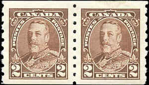Canada Mint H F-VF PAIR 2c Scott #229 1935 King George V Pictorial Coil Stamps