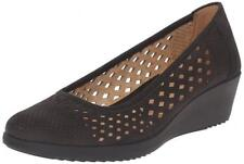 Sz.9.5 Women's Naturalizer BRINA Black Nubuck Syn Slip-on Wedge Pump Black Shoes