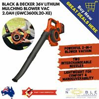 Black & Decker 36v 2.0Ah Lithium Ion Cordless Blower Vacuum Leaf Stick Portable