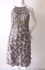 MR K  Silver Grey Satin Strapless Ruffled Cocktail Dress Size 12 US 8