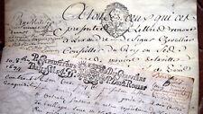 1694 PARCHEMIN GENERALITE DE PARIS contrat vente de masures + divers