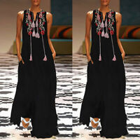 Womens Summer Kaftan Maxi Dress Casual Vintage Embroidery Printed Long Dresses