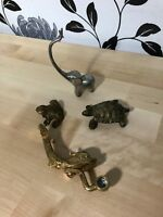 4 Brass/Metal Animal Figures Turtle Frog Fish Elephant Collectable Vintage