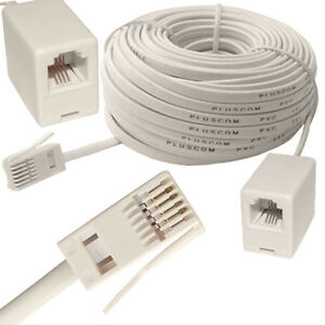 2M - 20M RJ11 UK Male to US Female Lead Broadband Telephone ADSL Extension Cable