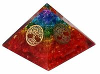 Extra Large Rainbow Multistone Orgone Pyramid EMF Protection Tree of Life Chakra