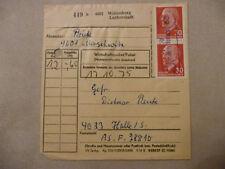 """DDR Paketkarte MEF 30 Pfg Ulbricht Poststelle """"4601 Merschwitz 29 Wittenberg"""""""