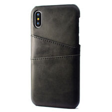 Luxury PU Leather Skin With Card Holder Back Cover Case For iPhone Samsung Huawe