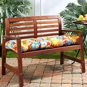 """Porch Swing Cushion Glider Bench Seat 52"""" Tufted Padded Patio Pillow Floral"""
