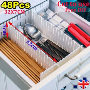 48Pack Adjustable Drawer Dividers Plastic Organisers Sock Draw Separators 32x7cm