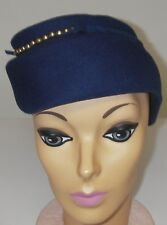 Vintage 1930s Women's Hat Wool Felt Blue Oval Crown Gold Beads Millinery