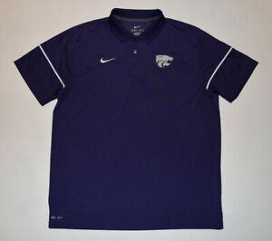 Nike Kansas State Wildcats Men's Purple Dri-Fit Performance Polo Shirt XL--B21