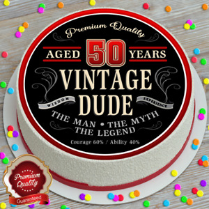 VINTAGE DUDE BIRTHDAY YOUR AGE PERSONALISED 7.5 INCH EDIBLE CAKE TOPPER B-288G