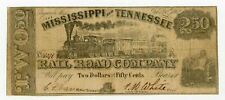 1862 $2.50 The Mississippi and Tennessee Rail Road Co. - MISSISSIPPI Note