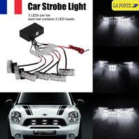 6x 3 LED Lumière Flash Stroboscope Strobe Clignotant Blanc Alerte Voiture Lampe