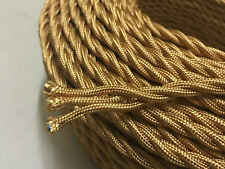 3 CORE GOLD ANTIQUE BRAIDED WOVEN SILK / FABRIC LAMP CABLE / WIRE / CORD LIGHT
