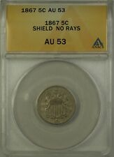 1867 No Rays Shield Nickel 5c Coin ANACS AU-53